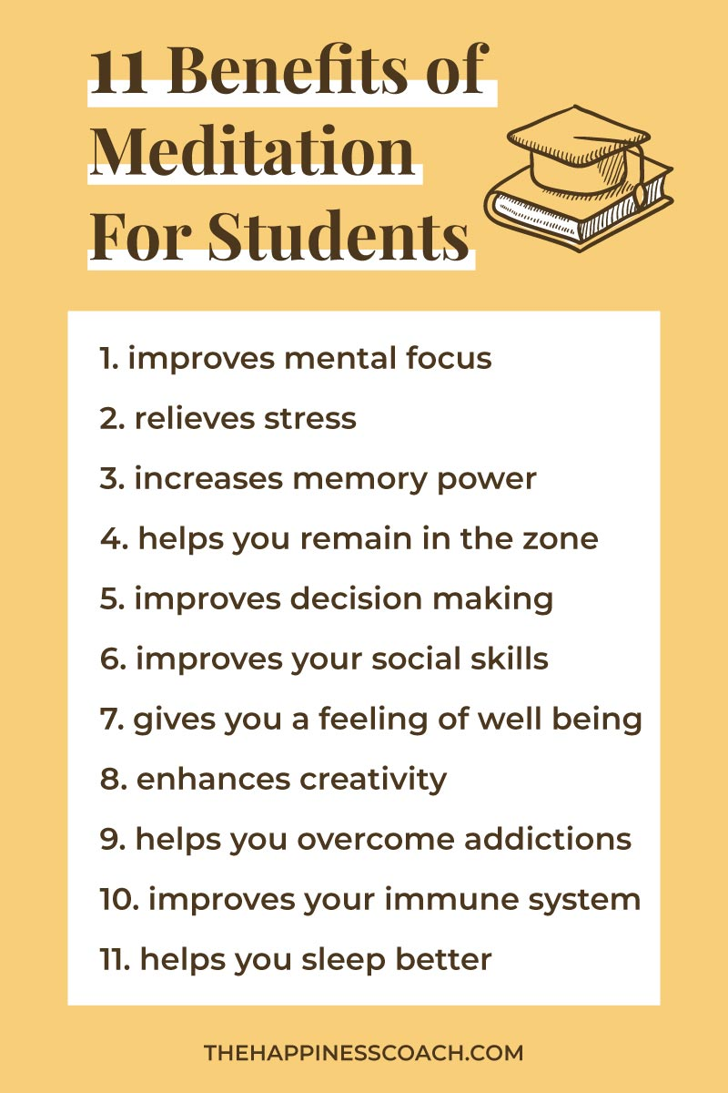 list of benefits of meditation for students