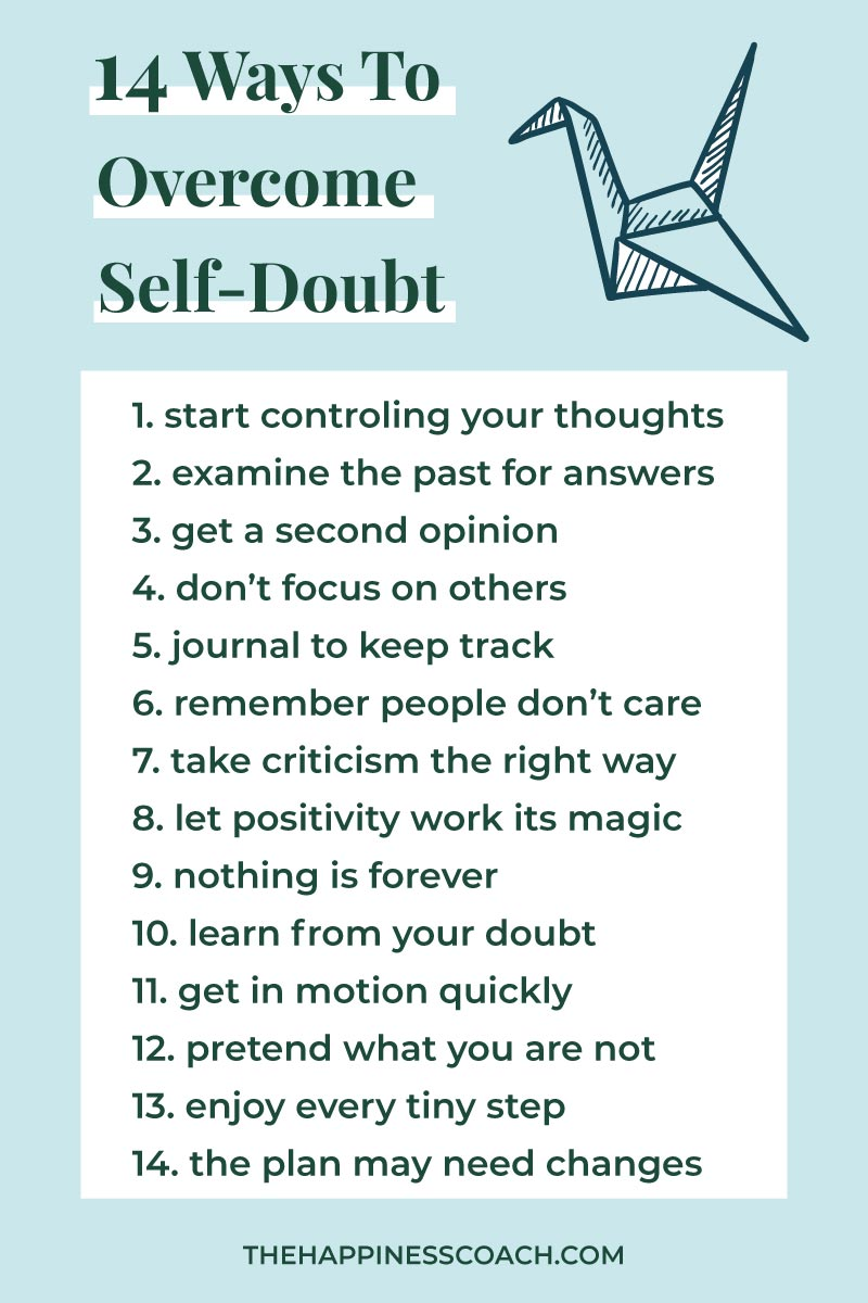 list of tips to overcome selfdoubts