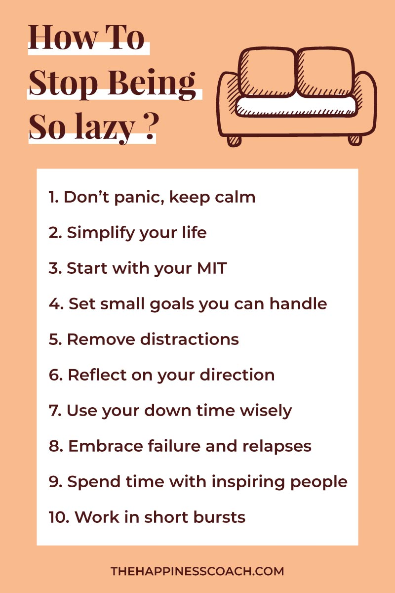 list of tips to stop being so lazy