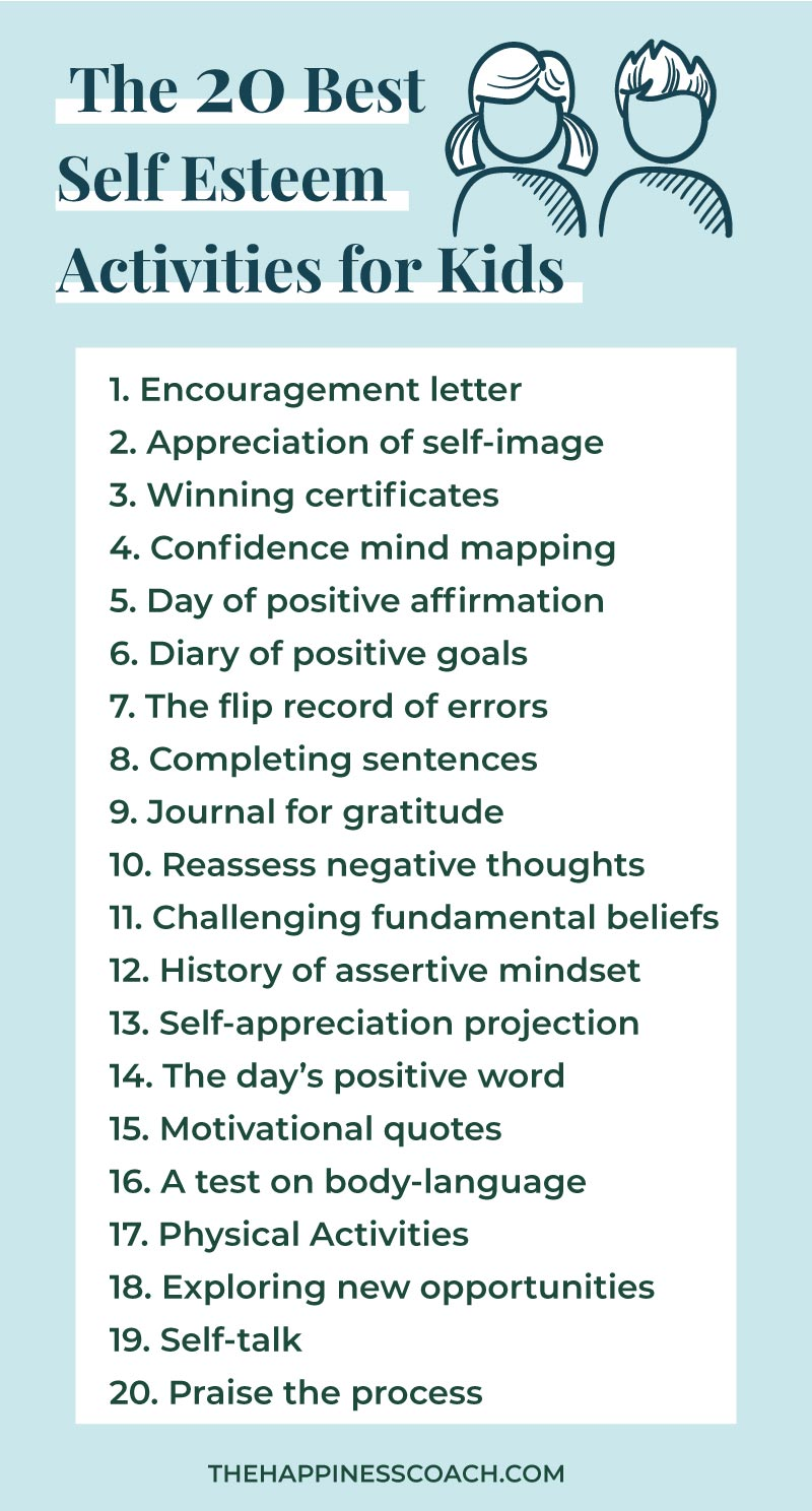 list of self esteem activities for kids and teens
