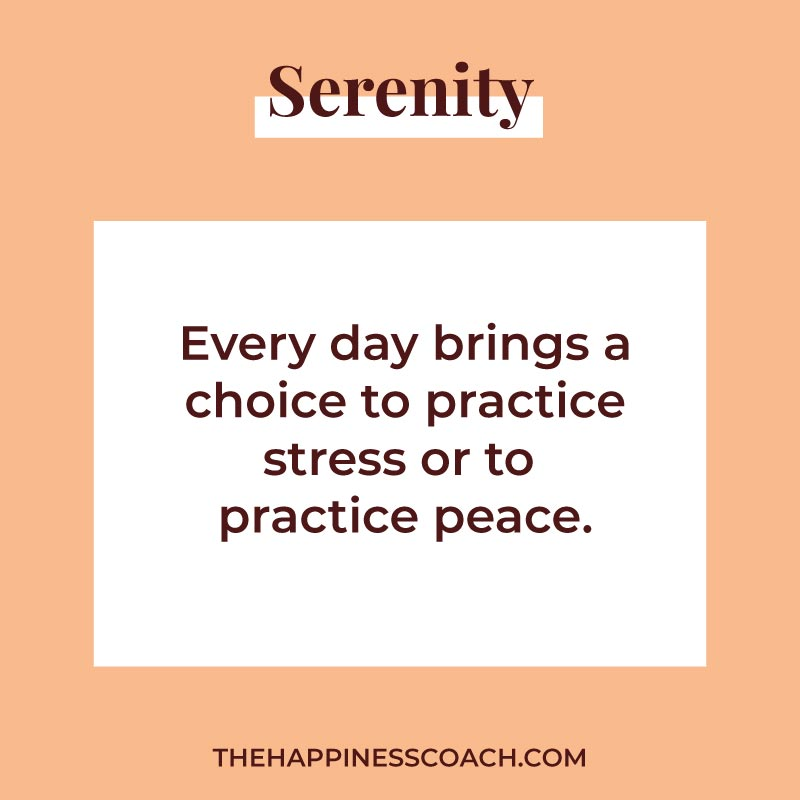everyday brings a choice to practice stress or to practice peace