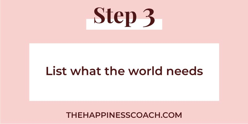 step 3 list what the world needs